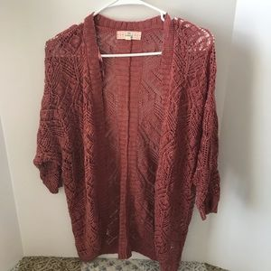 Lace crochet cardigan dusty rose Size M